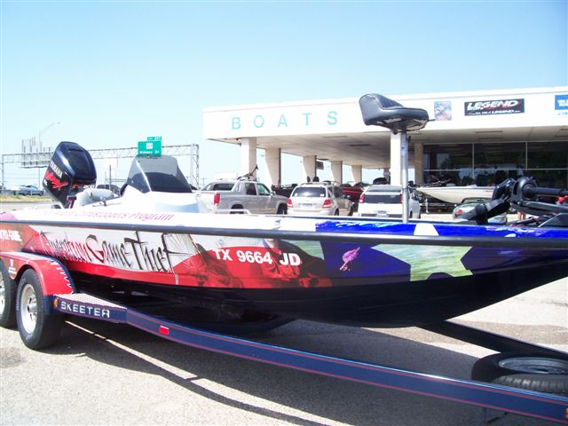 Operation Game Thief Wrapped Skeeter Bass Boat